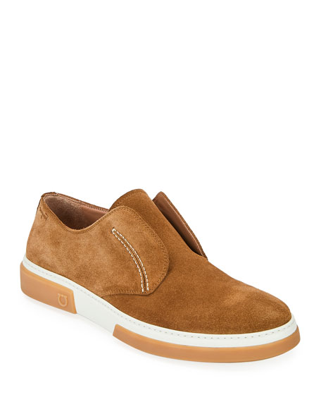 Salvatore Ferragamo Men's Amber Suede Slip-On Sneakers