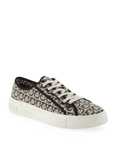 Men's Anson Gancini-Print Canvas Low-Top Sneakers