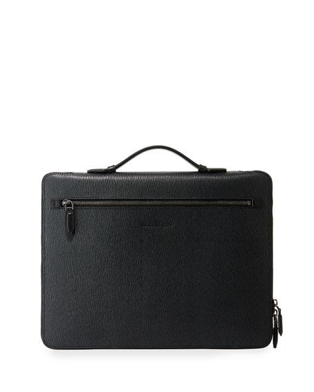 Salvatore Ferragamo Men's Revival Textured Leather Portfolio Case