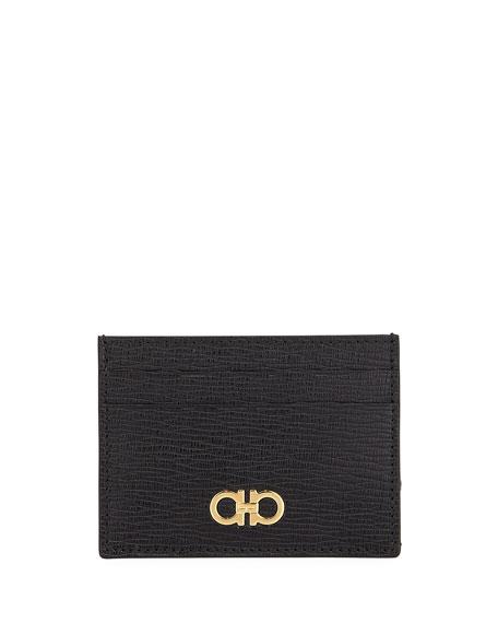 Salvatore Ferragamo Men's Revival Gancio Textured Leather Card Case