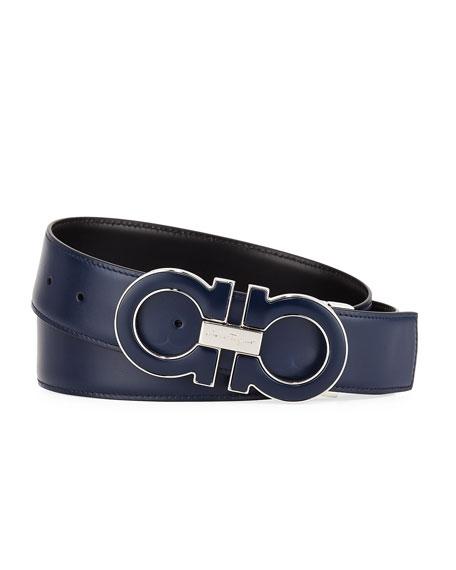 Salvatore Ferragamo Men's Smooth Calf Reversible Leather Belt