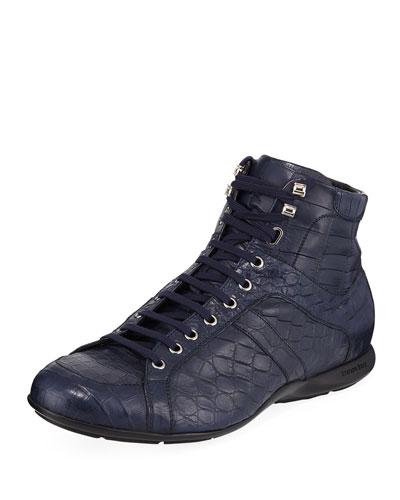 Men's Lace-Up Crocodile Shoes