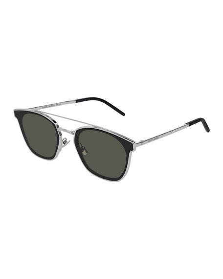 Saint Laurent Men's Metal Flush-Lens Brow-Bar Sunglasses