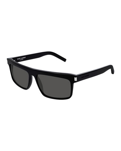 Men's Flattop Rectangle Sunglasses with Mineral Glass Lenses