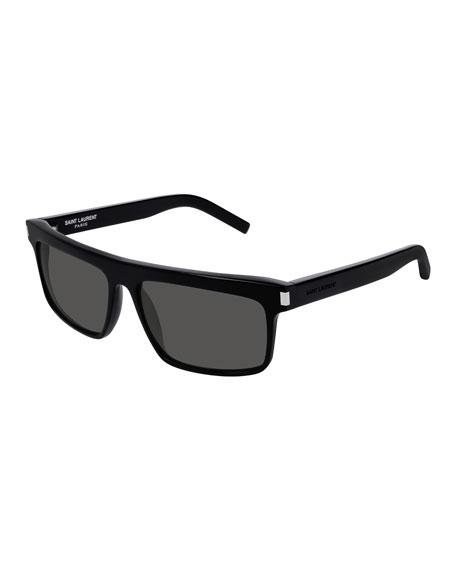 Saint Laurent Men's Flattop Rectangle Sunglasses with Mineral Glass Lenses
