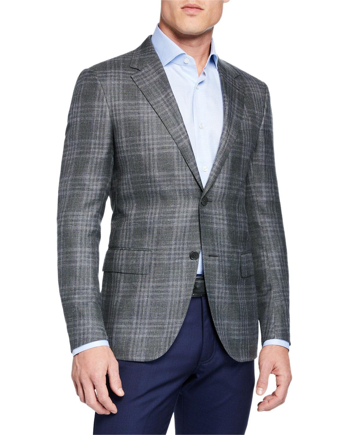81500438 Men's Cashmere/Silk Plaid Sport Coat