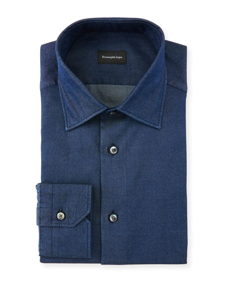 Ermenegildo Zegna Men's Denim Cotton Dress Shirt