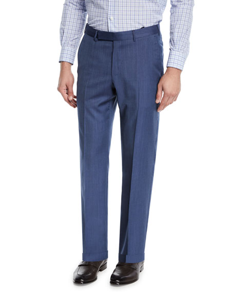 Ermenegildo Zegna Men's Achill Farm Wool/Silk Dress Trousers