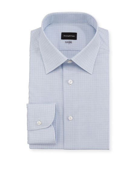 Ermenegildo Zegna Men's 100fili Micro-Check Dress Shirt