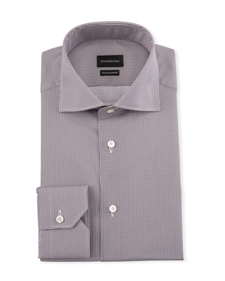 Image 1 of 2: Ermenegildo Zegna Men's Trofeo Comfort Micro-Print Dress Shirt