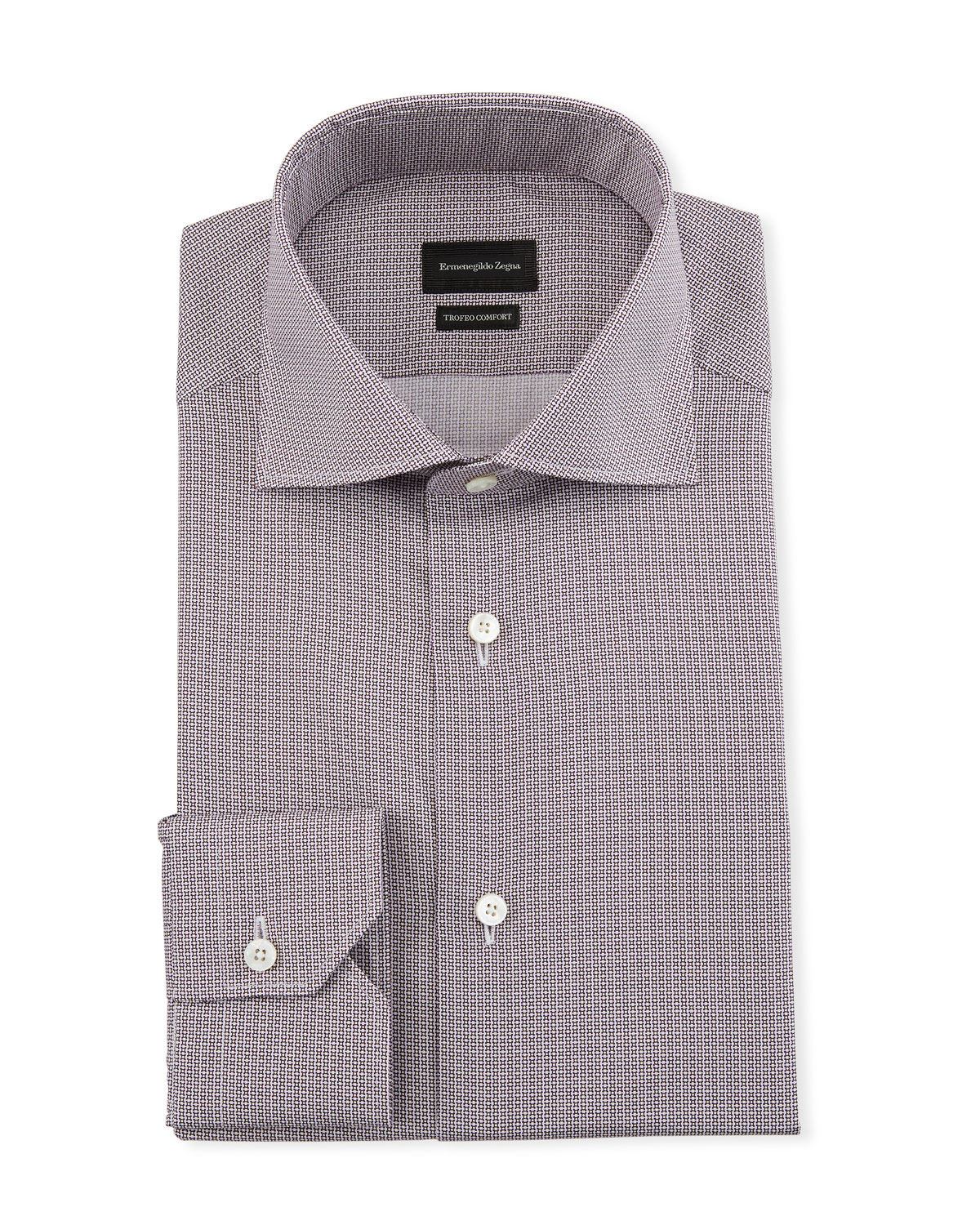 Ermenegildo Zegna Men's Trofeo Comfort Micro-Print Dress Shirt