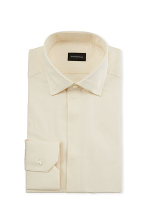 Ermenegildo Zegna Men's Cotton/Silk Stitch-Bib Formal Shirt