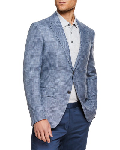 Men's Plaid Crossover Two-Button Jacket