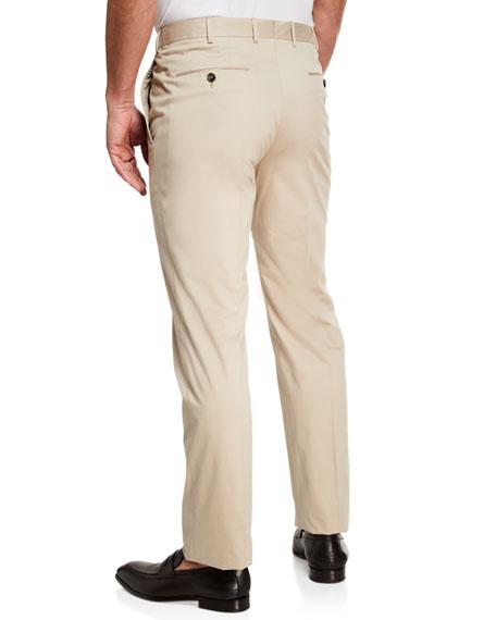 Ermenegildo Zegna Men's Cotton Sateen Flat-Front Pants, Khaki