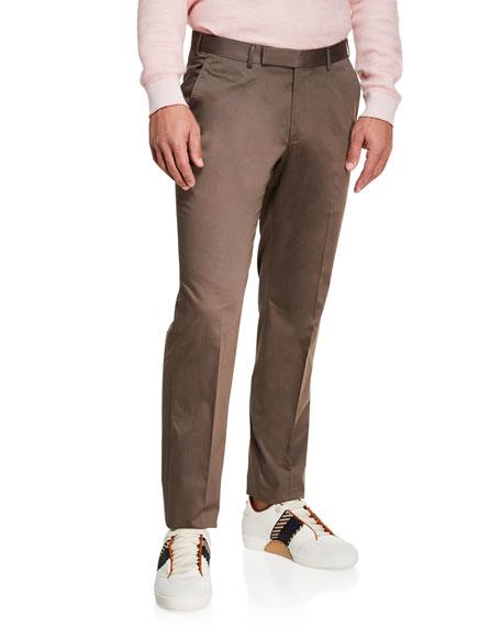 Ermenegildo Zegna Men's Cotton Sateen Flat-Front Pants, Brown