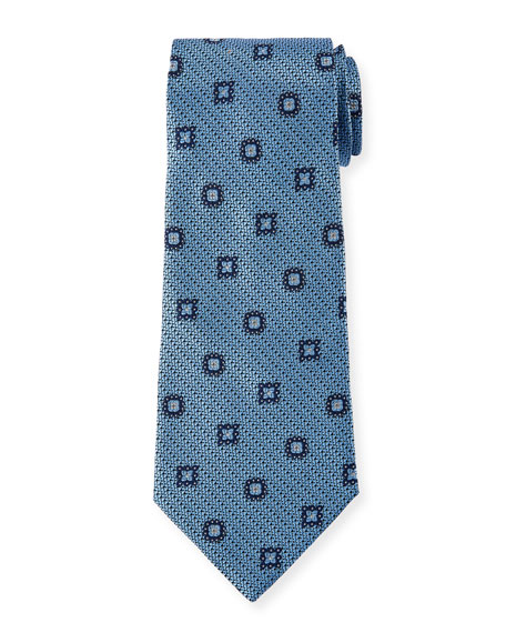 Ermenegildo Zegna Silk Medallion-on-Jacquard Tie, Blue