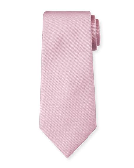 Ermenegildo Zegna Solid Silk Twill Tie, Pink