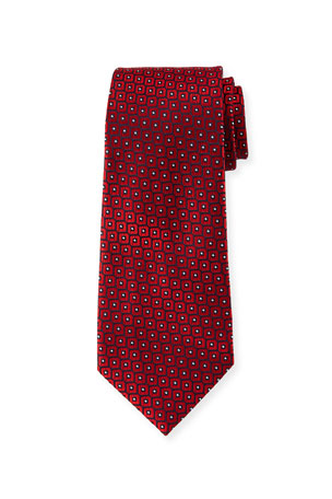Ermenegildo Zegna Men's Woven Boxes Silk Tie, Red