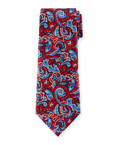 Image 1 of 1: Men's Medium-Scale Paisley Tie, Red