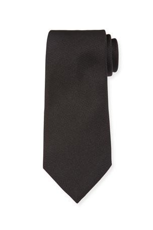 Ermenegildo Zegna Solid Silk Twill Tie, Black