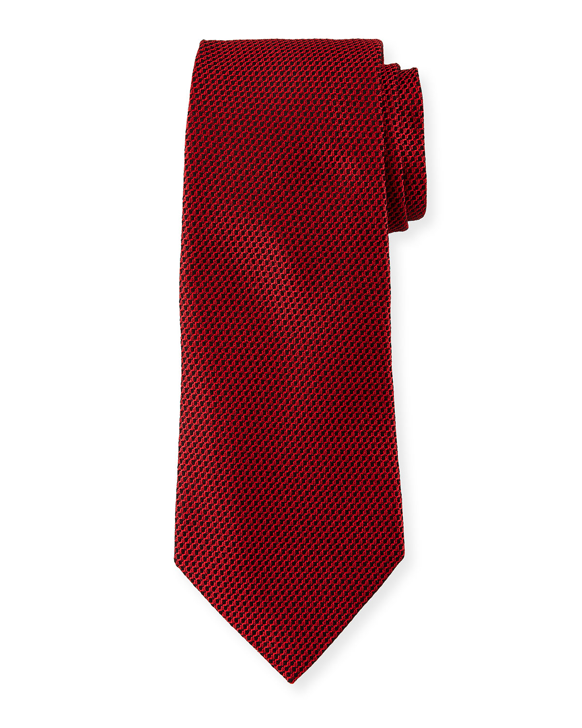 Ermenegildo Zegna Men's Chain-Link Silk Tie, Red