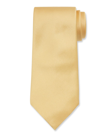 Image 1 of 1: Solid Silk Twill Tie, Yellow