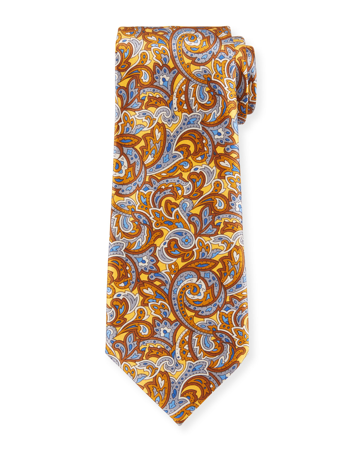 Ermenegildo Zegna Men's Medium-Scale Paisley Tie, Yellow