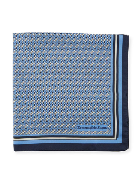 Image 1 of 1: Micro Pixel Silk Pocket Square, Blue