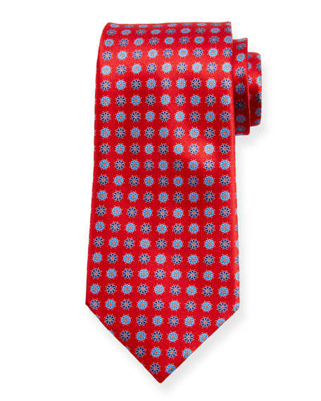 Ermenegildo Zegna Alternating Flowers Silk Tie, Red