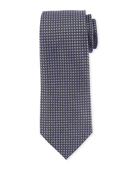 Ermenegildo Zegna Basketweave Silk Tie, Purple