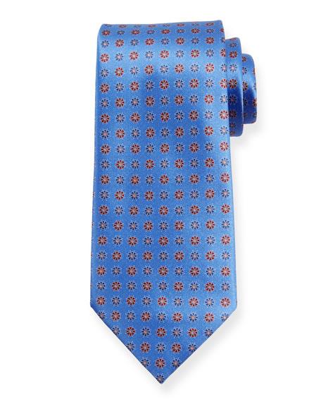 Ermenegildo Zegna Alternating Flowers Silk Tie, Blue
