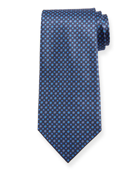 Ermenegildo Zegna Boxes and Circles Silk Tie, Navy
