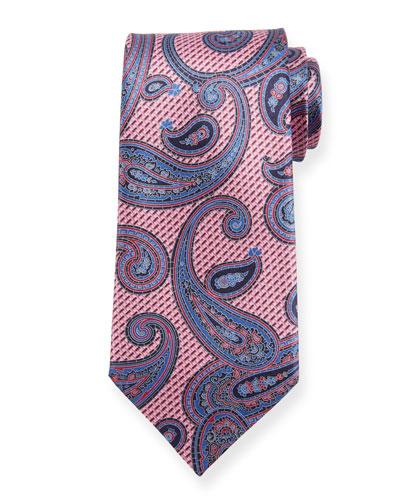 Macro Paisley Silk Tie  Pink