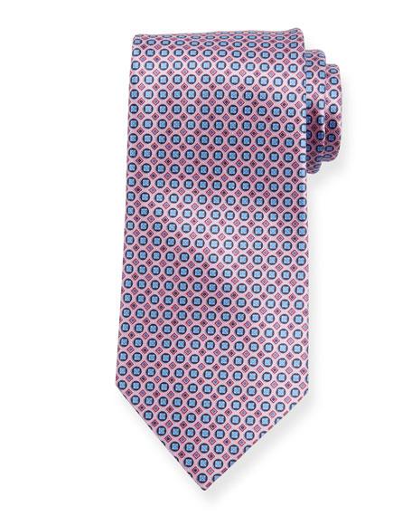 Ermenegildo Zegna Boxes and Circles Silk Tie, Pink