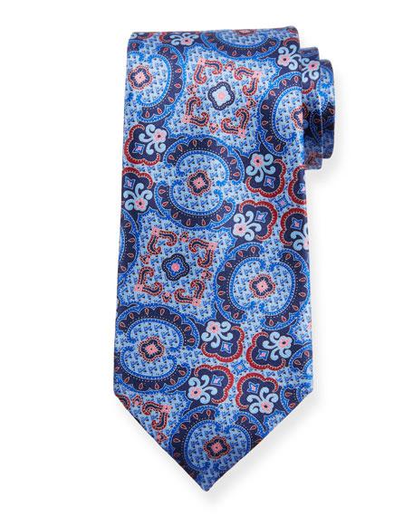 Ermenegildo Zegna Medium Paisley Silk Tie, Blue/Pink
