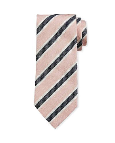 Framed Stripe Silk Tie  Pink