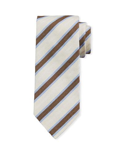 Framed Stripe Silk Tie  Ivory