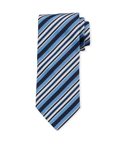 Multi-Stripe Silk Tie  Light Blue
