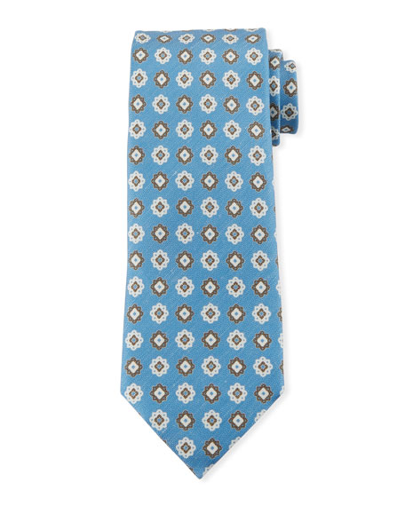 Ermenegildo Zegna Medallions Silk Tie, Light Blue