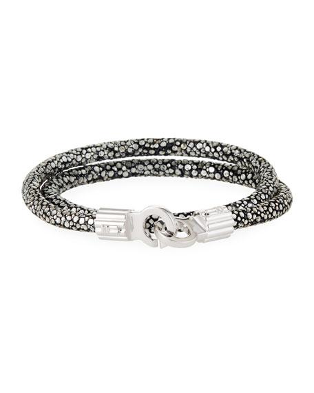 BRACE HUMANITY Men'S Stingray Shagreen Wrap Bracelet in Silver