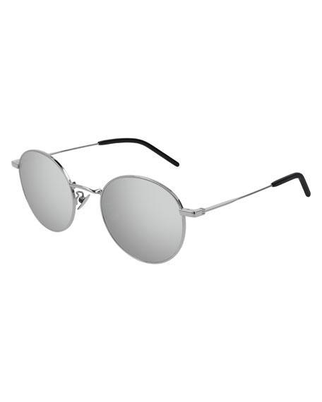 Saint Laurent Men's Round Metal Mirrored Sunglasses