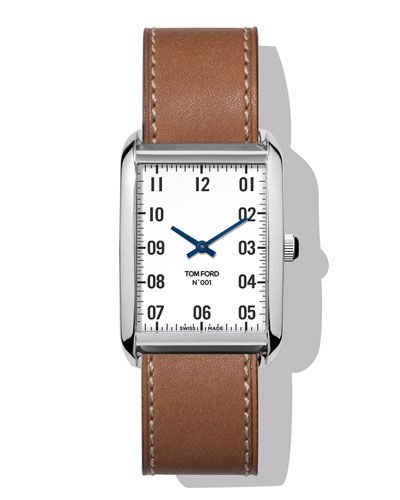 Men's 44x30  Calf-Leather Large Watch  White/Brown