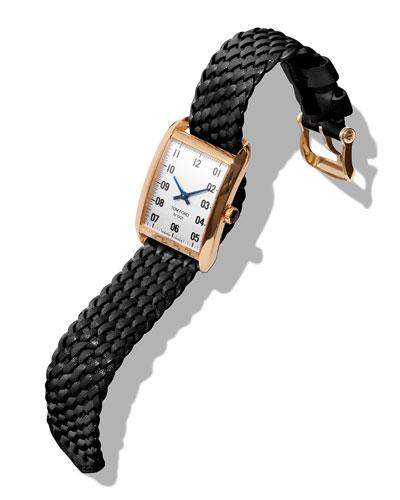 Men's 40x27 18K Gold Braided-Leather Medium Watch  White/Black
