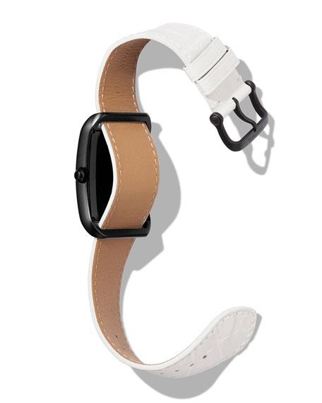 TOM FORD TIMEPIECES Men's 40x27 Matte Alligator Medium Watch, Black/White