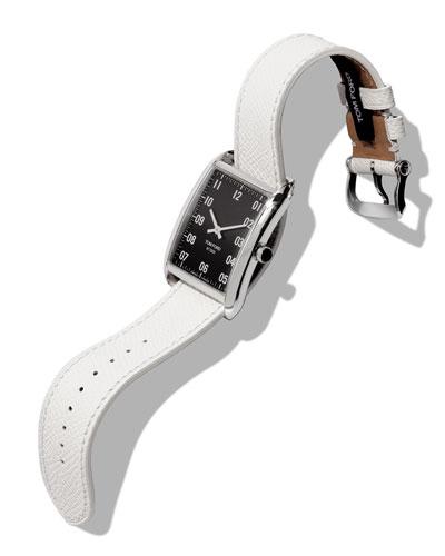 Men's 44x30  Pebble-Leather Large Watch  Black/Gray
