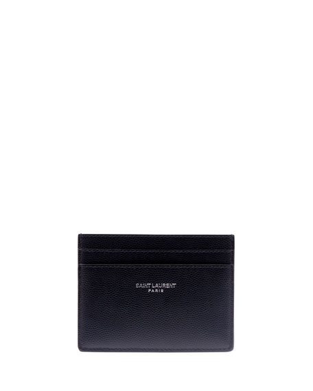 Saint Laurent Men's Classic Pebbled Leather Card Case