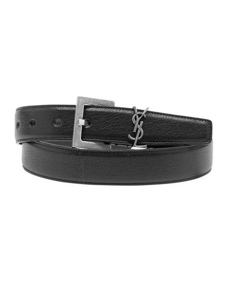 Saint Laurent Men's YSL Lamb Leather Belt