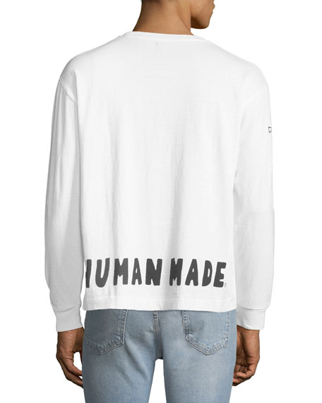 HUMAN MADE Men's Logo Typographic Long-Sleeve T-Shirt