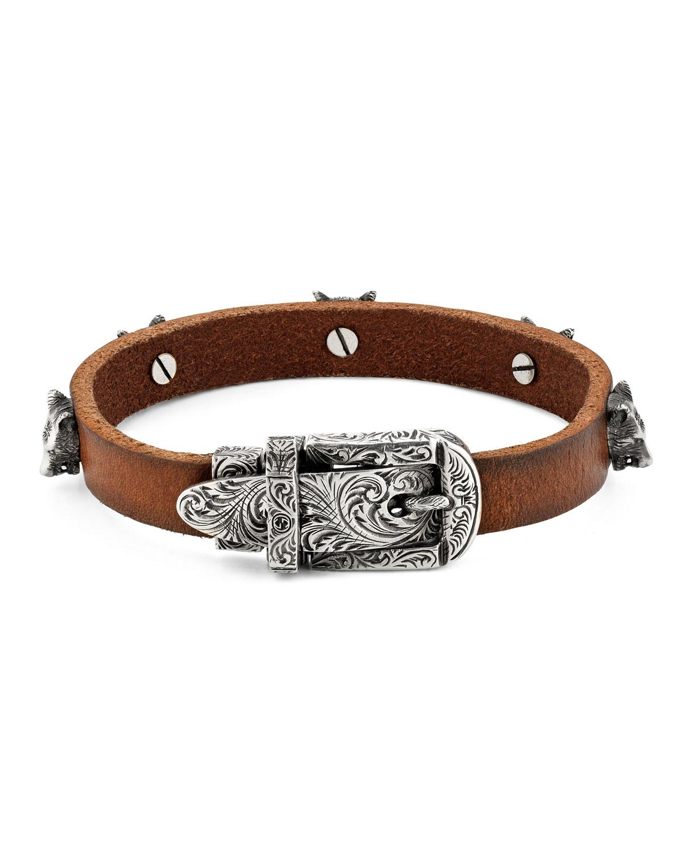 b687e42db Gucci Men's Feline Head Leather Buckle Bracelet | Neiman Marcus