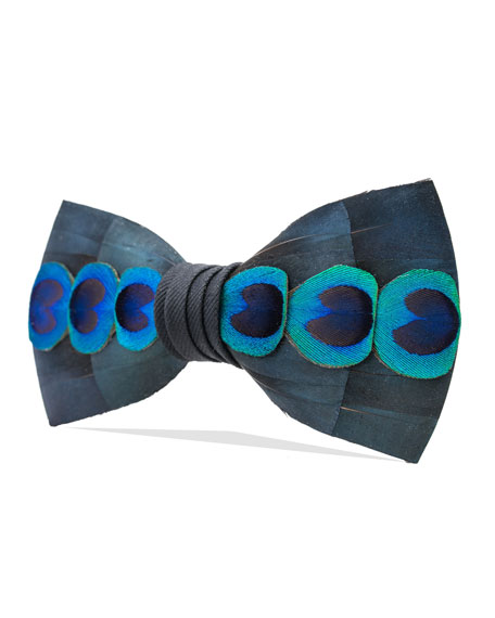 Brackish Bowties Abalone Feather Formal Bow Tie